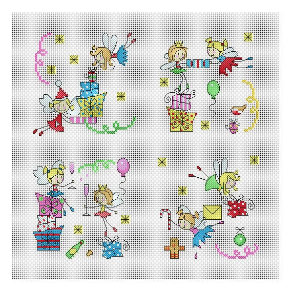 Fairy Christmas Cards / PDF Cross Stitch Pattern