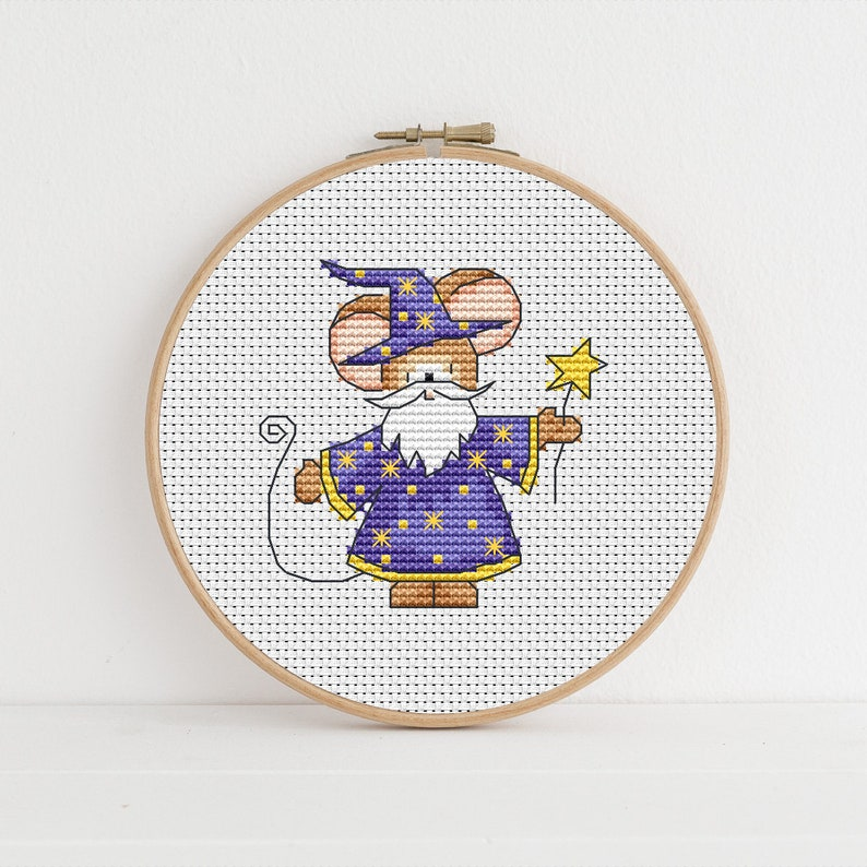 Furry Tales Wizard Mouse / PDF Cross Stitch Pattern / Lucie image 0
