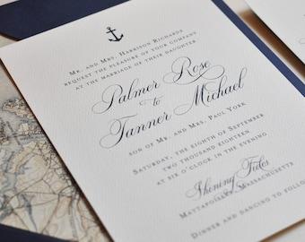 Nautical Wedding Invitation, Navy and White Invitation, Seaside, East Coast Wedding, Navy Wedding Invitation - DEPOSIT