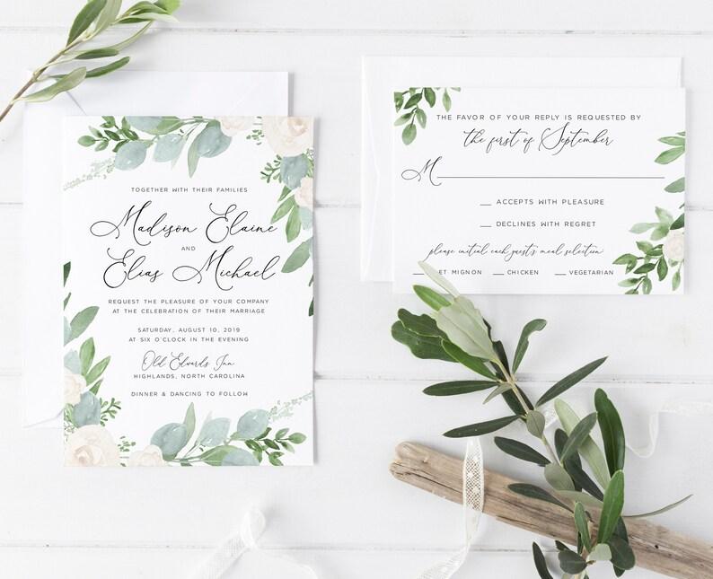 Boho DEPOSIT Garden Wedding RSVP Floral Wedding Invitation Floral Boho Floral Watercolor Wedding Invitation Watercolor Invitation