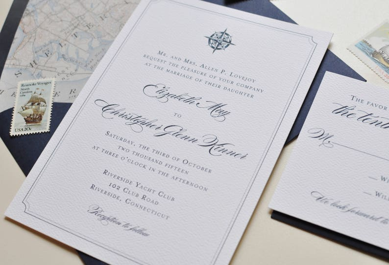 Nautical Wedding Invitations.Nautical Wedding Invitation Compass Rose Seaside Wedding East Coast Wedding Navy Wedding Invitation Letterpress Wedding Invitation