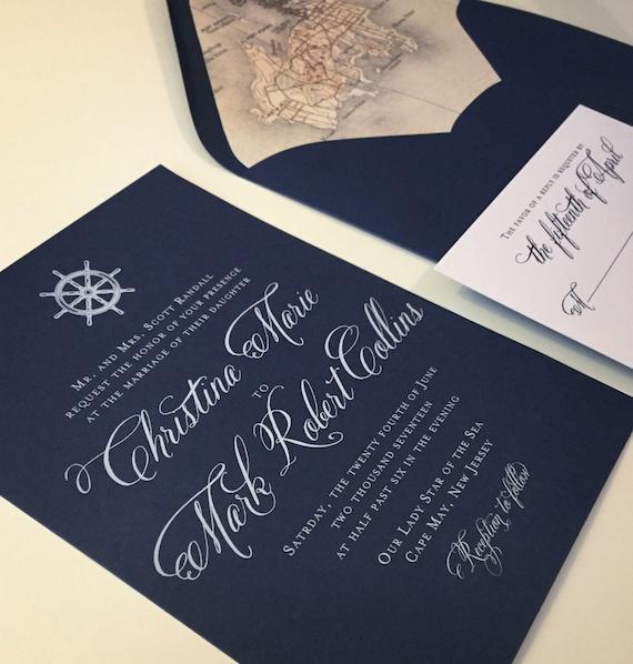 Nautical Wedding Invitation Navy Blue Wedding Invitation | Etsy