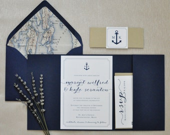 Nautical Wedding Invitation, Pocketfold Wedding Invitation, Nautical Pocketfold, Anchor, Navy and Gold Wedding Invitation - DEPOSIT