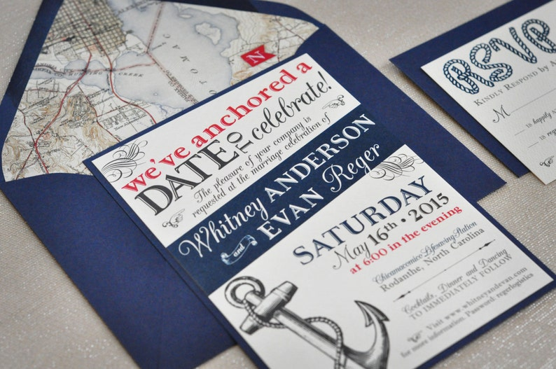 Nautical Wedding Invitations.Nautical Wedding Invitation Navy And Red Wedding Invitation Cruise Ship Wedding Anchor Wedding Invitation Map Envelope Liner Deposit