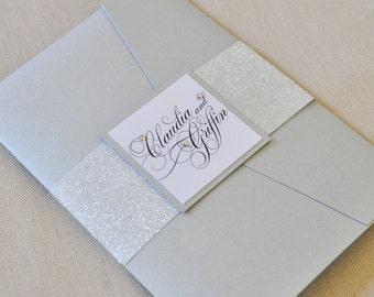 Pocketfold Wedding Invitation - Silver - Glitter - Black Tie - Elegant