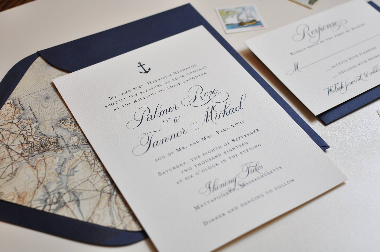 Nautical Wedding Invitation Navy and White Invitation | Etsy