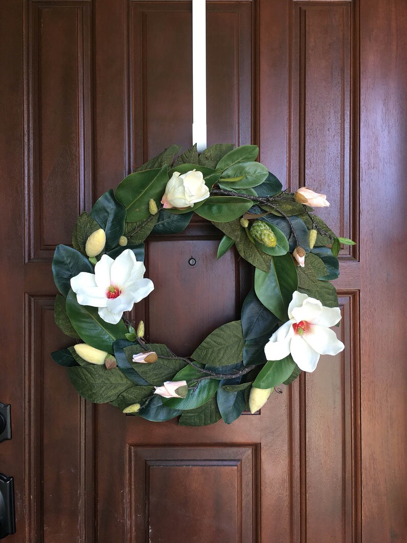 Magnolia Wreath Spring Wreath Front Door Wreath Outdoor Etsy