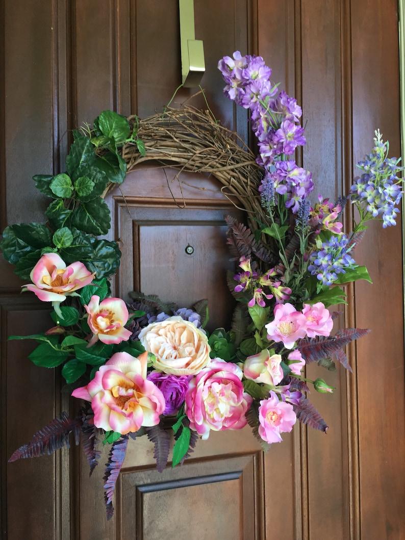 Garden Rose Wreath| Purple Wreath Spring Wreath Garden Wreath Outdoor Wreath Summer Wreath Flower Wreath Front Door Wreath