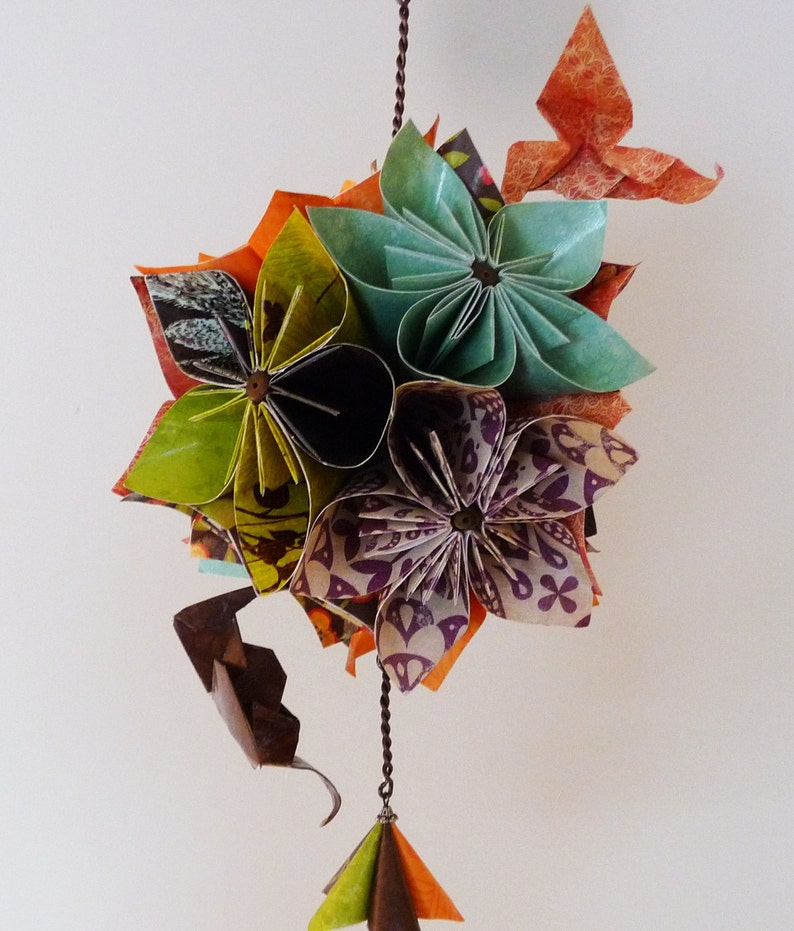 Beautiful Origami Flower Mobile With Hummingbirds Rustic Colors Etsy