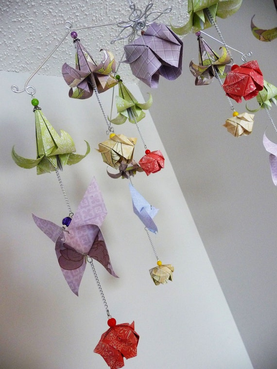 Origami rose mobile flower mobile butterfly mobile baby etsy image 0 mightylinksfo