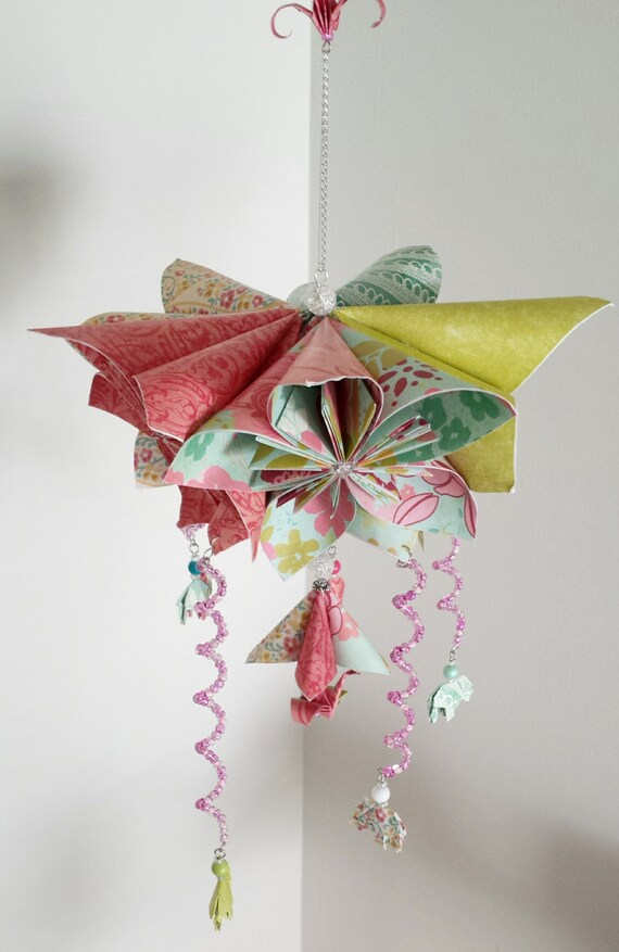 Beautiful flower mobile origami mobile elephant mobile etsy image 0 mightylinksfo