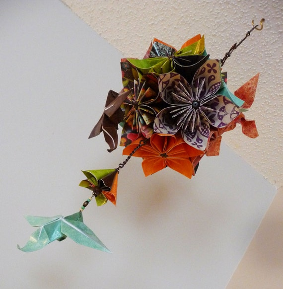Beautiful origami flower mobile with hummingbirds rustic etsy 50 mightylinksfo