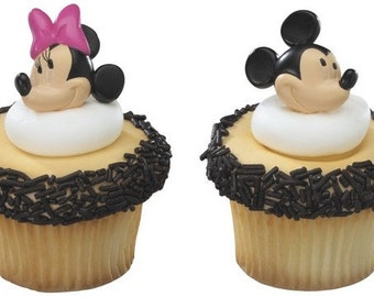 Mickey Mouse ~ Minnie Mouse ~ Cupcake Ring Toppers ~ Set of 12