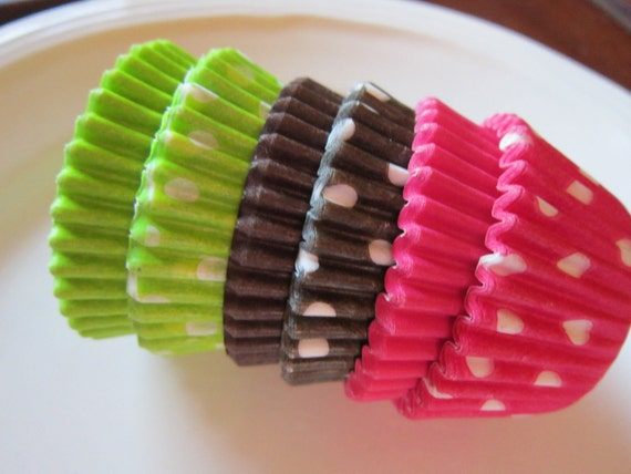 Assorted Lime Green Brown Hot Pink Mini or Standard Baking Cup-Cake Pop-Candy Cup