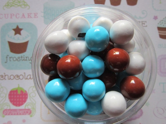 Brown Light Blue & White Baby Boy Owl Candy Coated Cupcake Topper Sixlets
