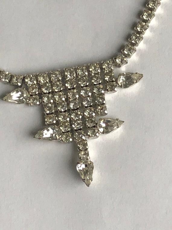 Vintage Rhinestone Choker rhinestone necklace Gar… - image 6