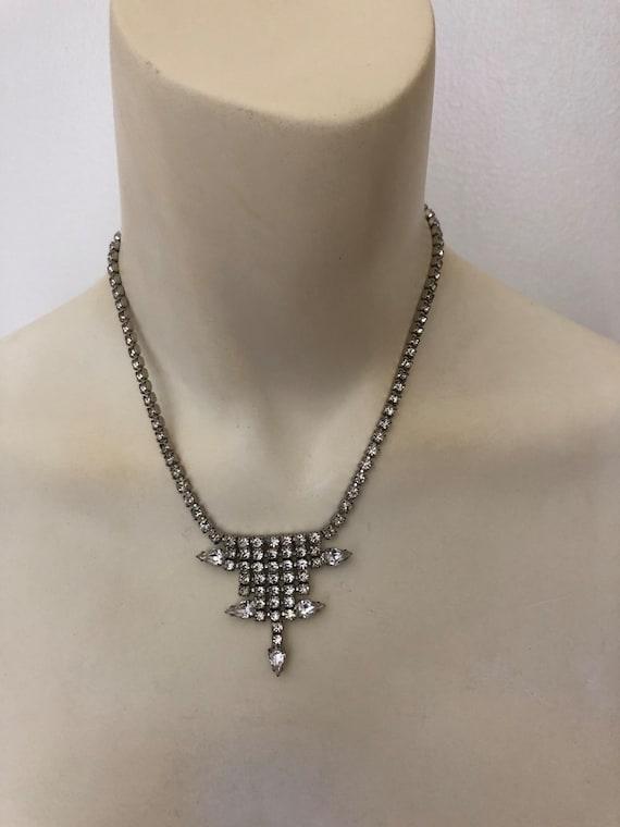 Vintage Rhinestone Choker rhinestone necklace Gar… - image 1