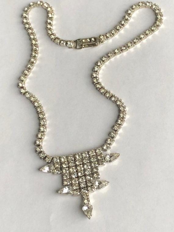 Vintage Rhinestone Choker rhinestone necklace Gar… - image 3
