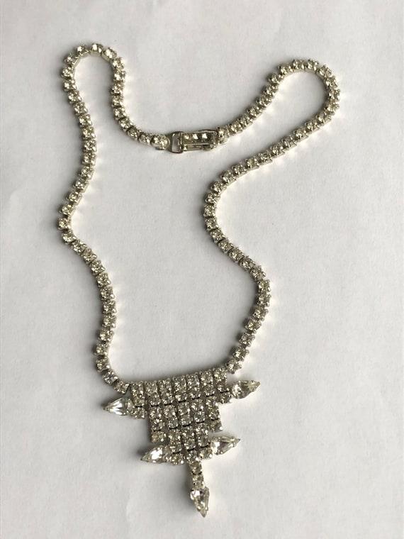 Vintage Rhinestone Choker rhinestone necklace Gar… - image 2