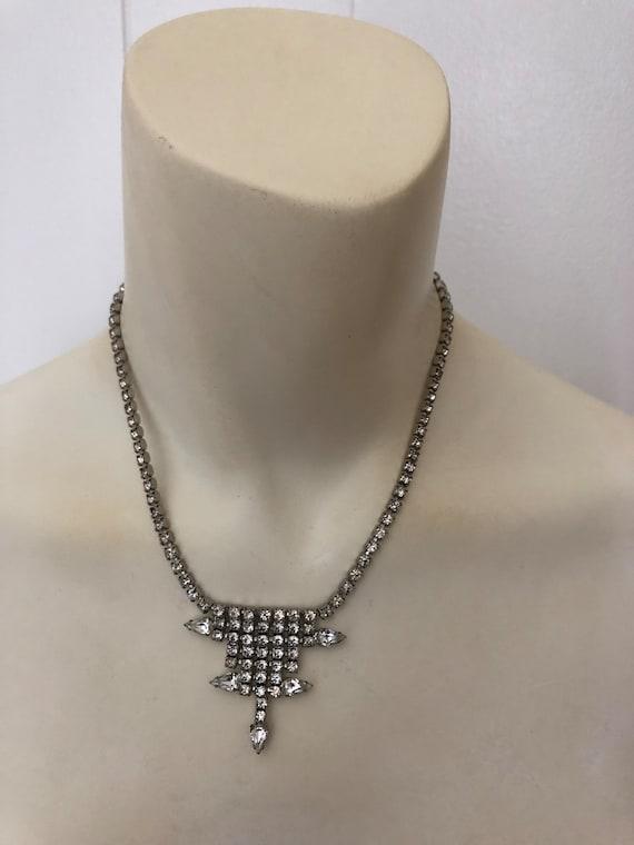 Vintage Rhinestone Choker rhinestone necklace Gar… - image 9
