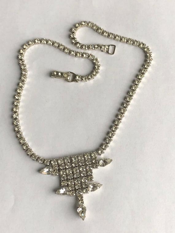 Vintage Rhinestone Choker rhinestone necklace Gar… - image 7