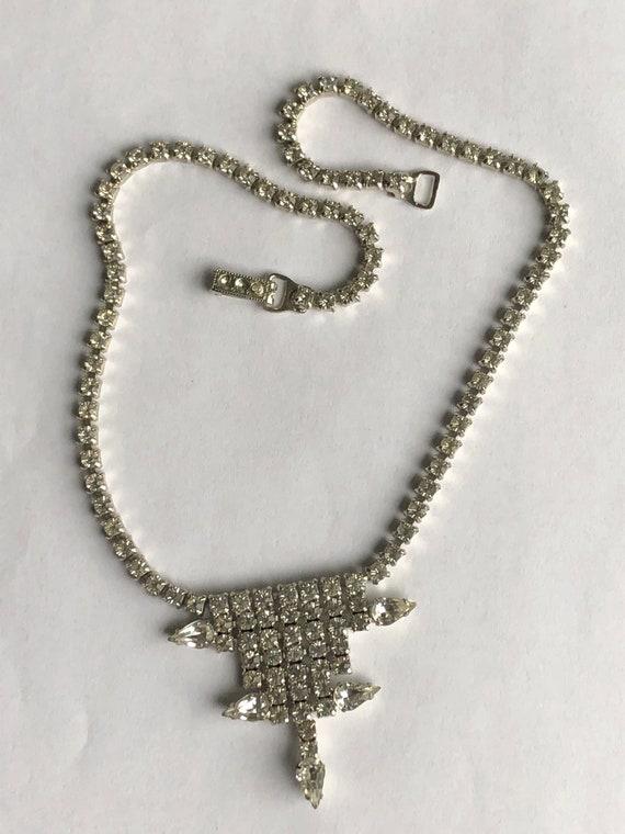 Vintage Rhinestone Choker rhinestone necklace Gar… - image 8