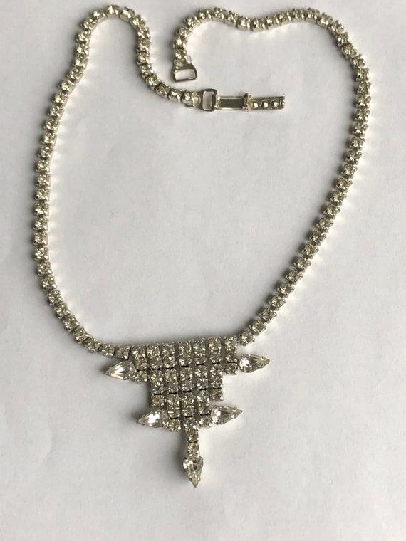 Vintage Rhinestone Choker rhinestone necklace Gar… - image 4