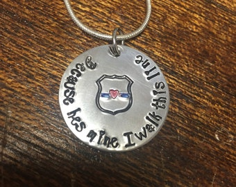 Police Wife Blue Line Necklace