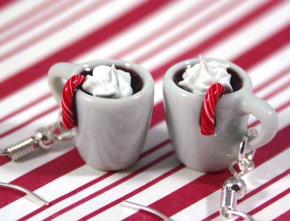 Polymer Clay Christmas Earrings.Christmas Earrings Hot Chocolate Earrings Kawaii Polymer Clay Charms Miniature Food Jewelry Clay Food Earrings Hot Cocoa Earrings