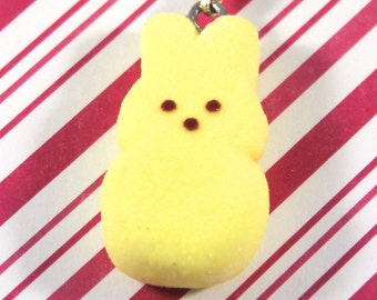 easter charm bunny peep charm kawaii polymer clay charms miniature food jewelry polymer clay food charm marshmallow bunny peep necklace