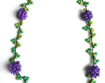NEW!! Hand-Crocheted Beaded Necklace with  Purple  Berries - Made of Mercerized Cotton and glass beads -OOAK-