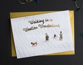 Walking in Woollen Wonderland - A6 Christmas Card with Gold Foiling