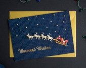 Warmest Wishes Christmas Card - A6 Christmas Card with Gold Foiling