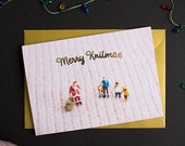 Merry Knitmas Christmas Card - A6 Christmas Card with Gold Foiling
