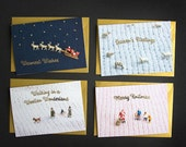 Pack of 4 Christmas Cards - A6 knitting inspired cards with gold foiling - 4 different designs