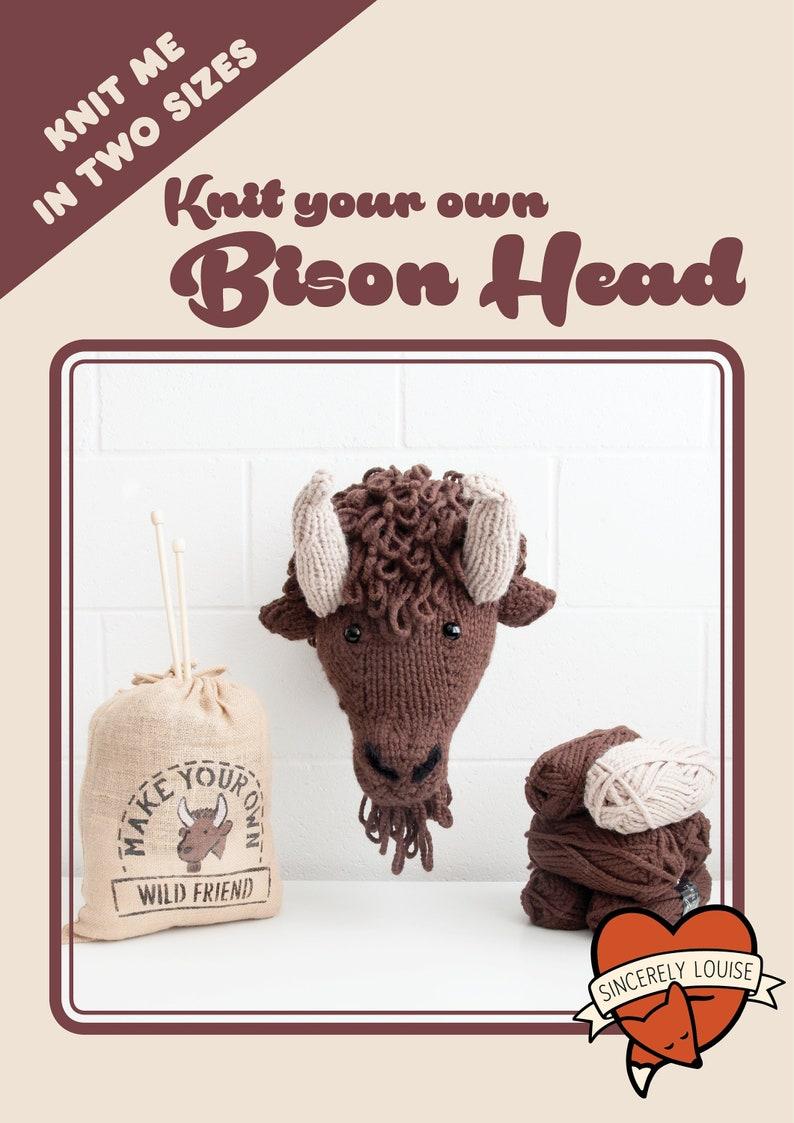 Bison / Buffalo Head  Digital PDF Knitting Pattern image 0