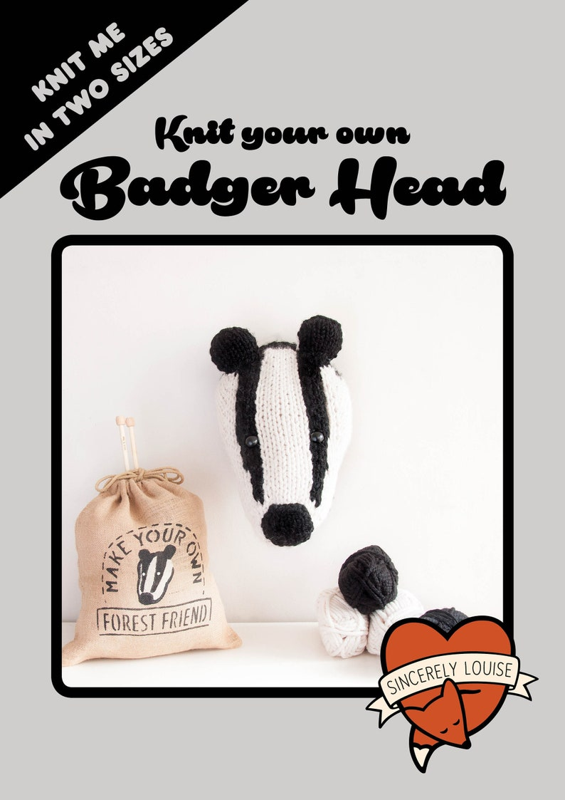 Badger Head  PDF Digital Knitting Pattern image 0