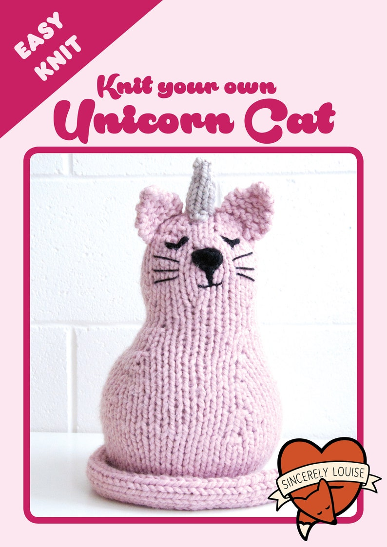 Unicorn Cat PDF Knitting Pattern image 0