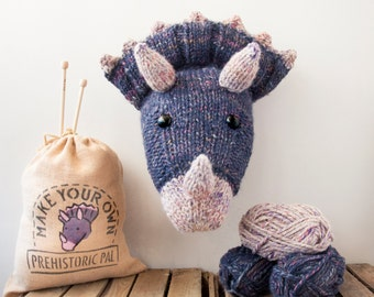 Faux Purple Triceratops Knitting Kit - Make Your Own Prehistoric Pal - Taxidermy Trophy Head