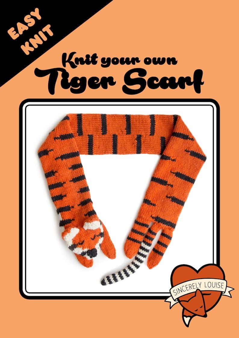 Tiger Scarf  Digital PDF Knitting Pattern image 0