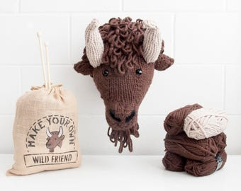 Faux Bison Knitting Kit  - Make Your Own Wild Friend DIY Trophy Head