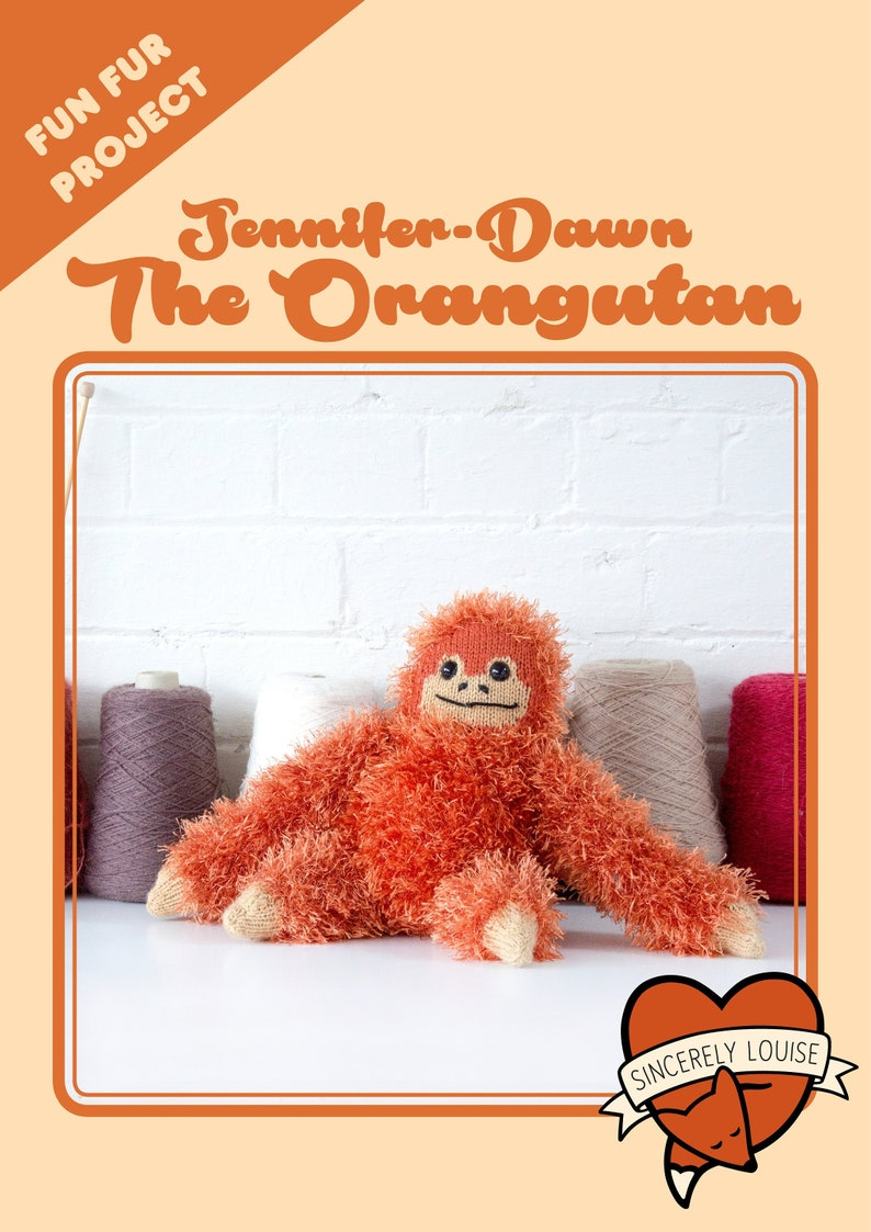 Jennifer Dawn the Orangutan  Digital PDF Knitting Pattern image 0