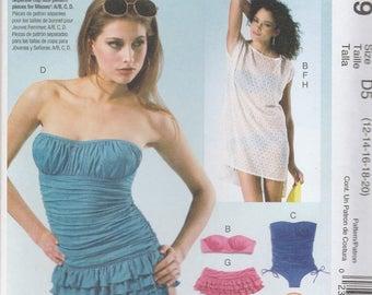 Swimsuit & Cover-Up Pattern McCalls 6569 Sizes 12-20 Uncut