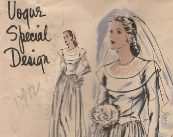 Lovely 1940s Wedding Gown Pattern Vogue Special Design S-4532 Size 14