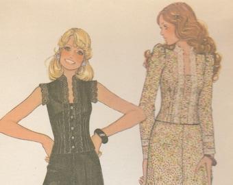 70s Sweet Blouse, Maxi Skirt & Palazzo Pants Pattern McCalls 4251 Size 12 Uncut