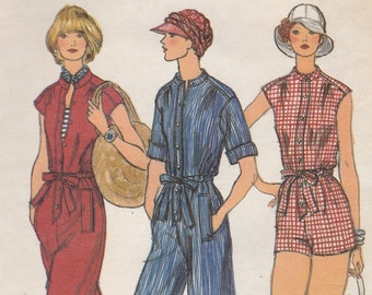 Fun 70s Jumpsuit or Playsuit Pattern Vogue 9464 Size 10 Uncut