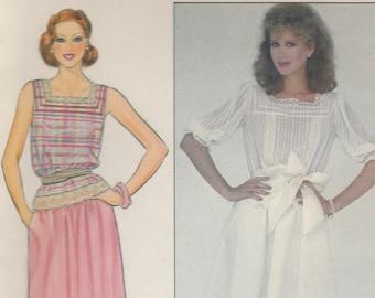 Sweet 80s Blouse & Skirt Pattern Butterick 4378 Size 14 Uncut