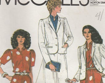 80s Classic Jacket, Blouse & Skirt Pattern McCalls 7935 Size 14 Uncut