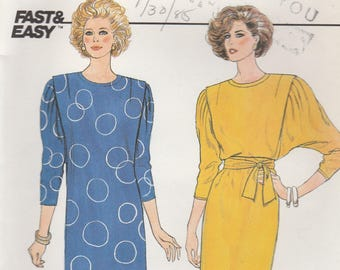 80s Dolman Sleeve Dress Pattern Butterick 3333 Size 12 Uncut