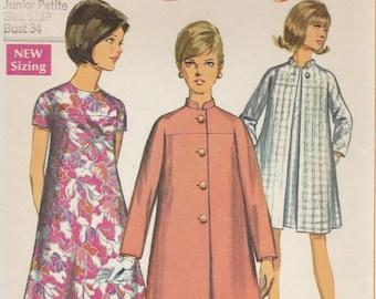 60s Dress & Coat Pattern Simplicity 7452 Junior Size 11 Uncut